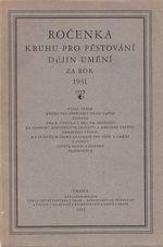 Rocenka Kruhu pro pestovani dejin umeni za rok 1931