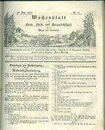 Wochenblatt  Land Forst  und Hauswirthschaftt 1852 Patriotisch  okonomischen Gesattschaft im Konigreiche Bohmen