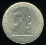 Ceskoslovensko republika 1945  1992  10 Koruna 1965  Mistr Jan Hus