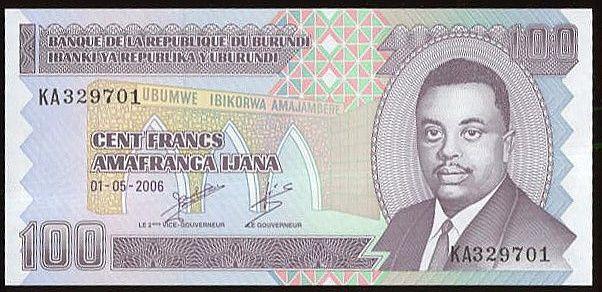 Burundi 100 Franks - B4870 | antikvariat - detail bankovky