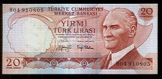 Turecko  20 Lirasi - C792 | antikvariat - detail bankovky
