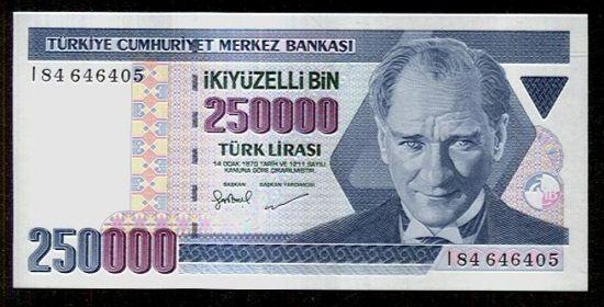 Turecko  250000 Lirasi - C795   antikvariat - detail bankovky