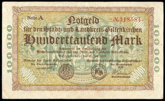 Gelsenkirchen 100000 Marek - A9292 | antikvariat - detail bankovky