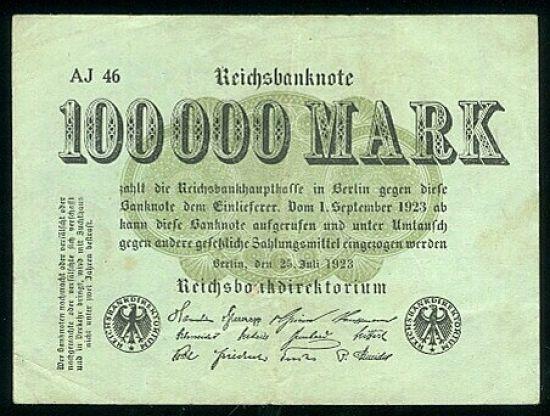 100000 Marek - A 001 | antikvariat - detail bankovky