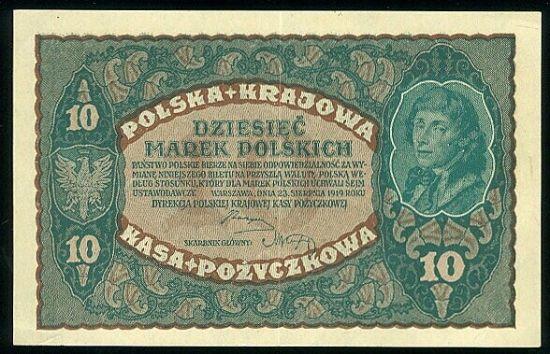 10 Marek 1919 - 9211   antikvariat - detail bankovky