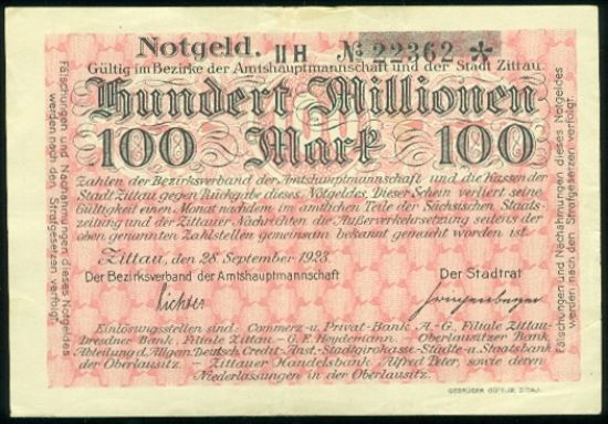 100 Mio Marek - A9257 | antikvariat - detail bankovky