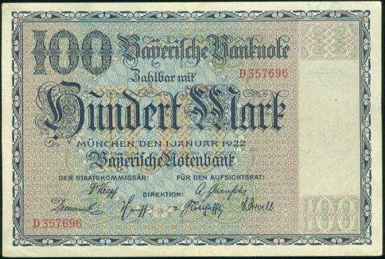 100 Marek 1922 - 9512 | antikvariat - detail bankovky