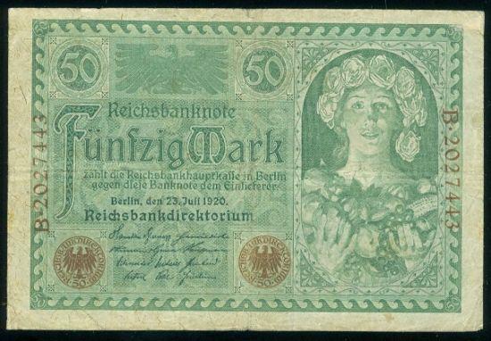 50 Marka 1920 - 9513   antikvariat - detail bankovky