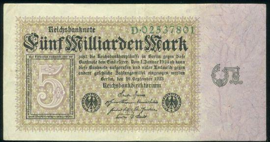5 Miliard Marek 1923 - 9525   antikvariat - detail bankovky