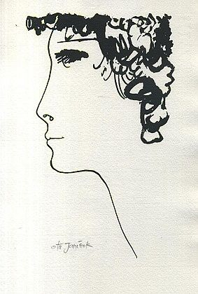 Divci tvar  profil - Janecek Ota | antikvariat - detail grafiky