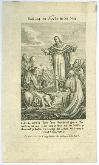 Jezis posila apostoly do sveta   antikvariat - detail grafiky