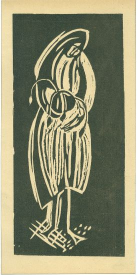 Zena s kvetinou - neurceno | antikvariat - detail grafiky