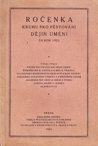 Rocenka Kruhu pro pestovani dejin umeni za rok 1923 | antikvariat - detail knihy
