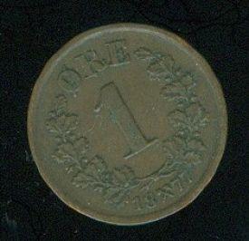 Norsko Oskar II  1 Ore 1877 R - B937 | antikvariat - detail numismatiky