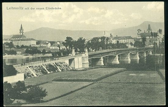 Leitmeritz mit derneuen Elbebrucke | antikvariat - detail pohlednice