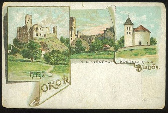 Hrad Okor a starobyly kostelik na Budci | antikvariat - detail pohlednice