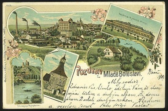 Pozdrav z Mlade Boleslavi   antikvariat - detail pohlednice