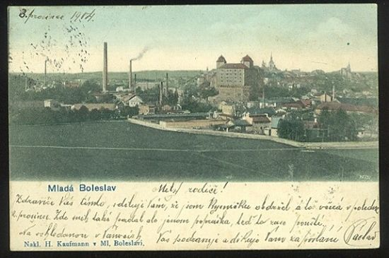 Mlada Boleslav   antikvariat - detail pohlednice