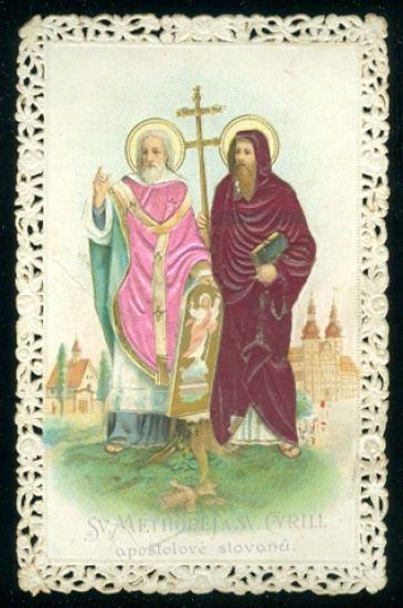 Sv Methodej a sv Cyrill apostolove slovanu  svaty obrazek | antikvariat - detail pohlednice
