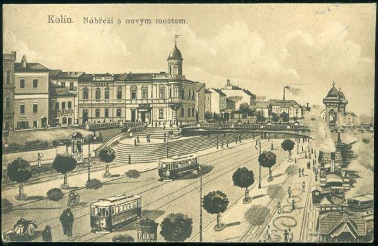 Kolin  Nabrezi s novym mostem | antikvariat - detail pohlednice